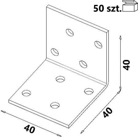 Kątownik KM1 40x40x40 x 2,0 mm (50 szt.)