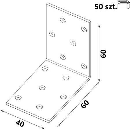 Kątownik KM3 60x60x40 x 2,0 mm (50 szt.)