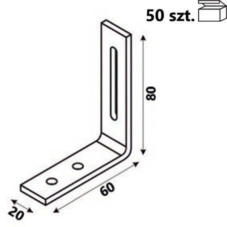 Kątownik KR1 80x60x20 x 4,0 mm (Opakowanie 50 szt.)