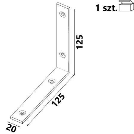 Kątownik KW6 125x125x20 x 4,0 mm (1 szt.)