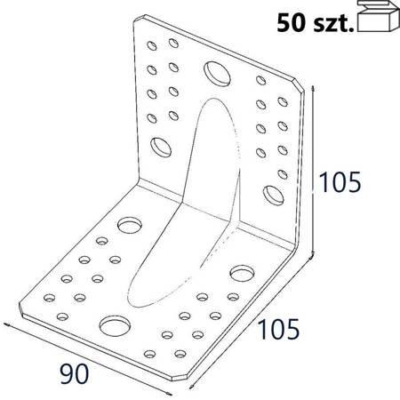 Kątownik z przetło. KP2/2 105x105x90 x 2,0mm (50 szt.)
