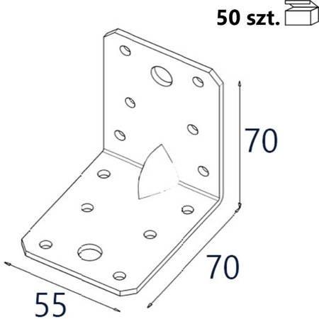 Kątownik z przetło. KP4/E 70x70x55 x 1,5mm (50 szt.)