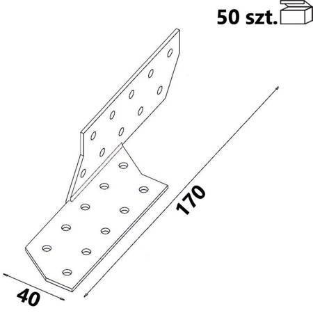 Łącznik krokwiowy prawy ŁK2 40x170x 2,0 mm (50 szt.)