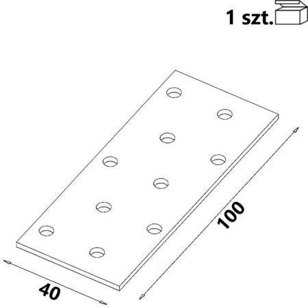 Płytka perforowana PP02 40x100x 2,0 mm (1 szt.)