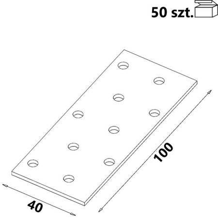 Płytka perforowana PP02 40x100x 2,0 mm (50 szt.)
