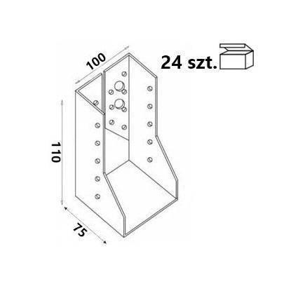 Wieszak belki WZ102 100x110x75x 2,0 mm (24 szt.)