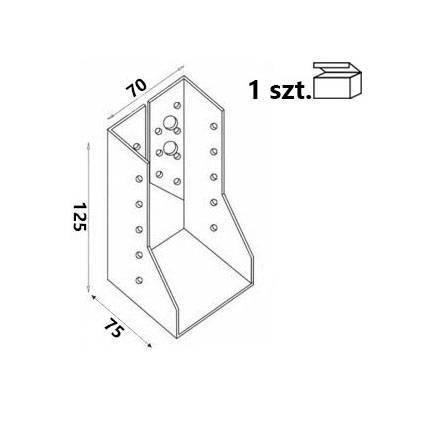 Wieszak belki WZ72 70x125x75x 2,0 mm (1 szt.)